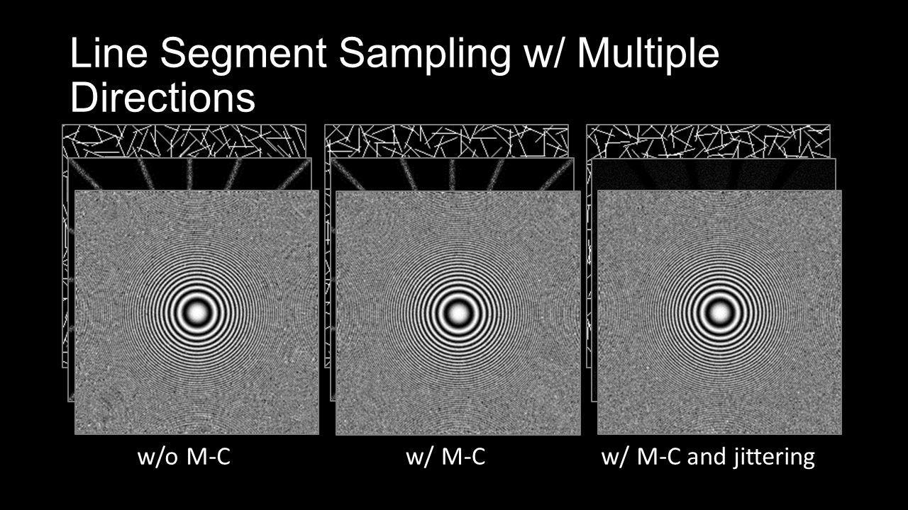 Line Segment Sampling w/ Multiple Directions w/o M-Cw/ M-Cw/ M-C and jittering