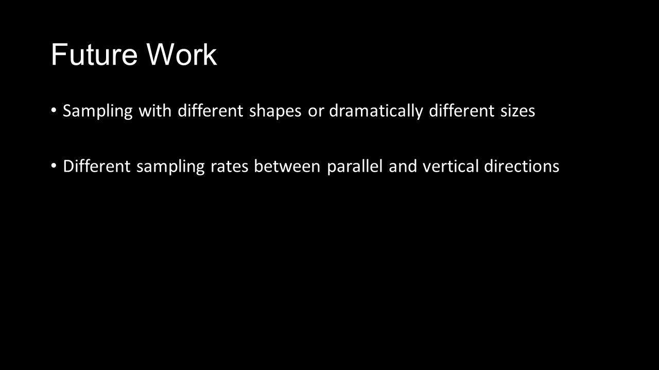 Future Work Sampling with different shapes or dramatically different sizes Different sampling rates between parallel and vertical directions