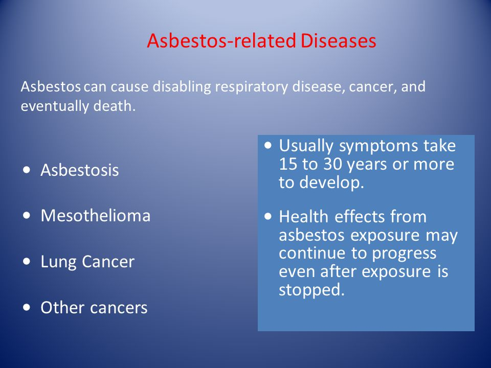 Asbestos-related Diseases Asbestosis Mesothelioma Lung Cancer Other cancers Usually symptoms take 15 to 30 years or more to develop.