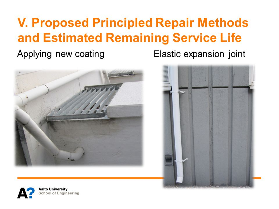 V. Proposed Principled Repair Methods and Estimated Remaining Service Life Elastic expansion joint Applying new coating