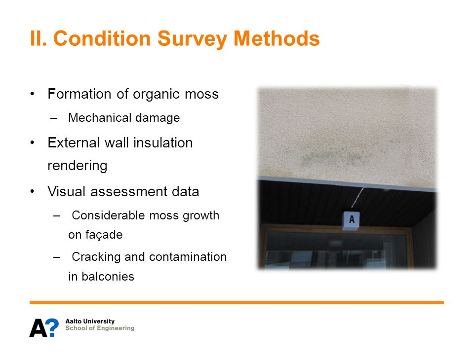 II. Condition Survey Methods Formation of organic moss –Mechanical damage External wall insulation rendering Visual assessment data – Considerable mos