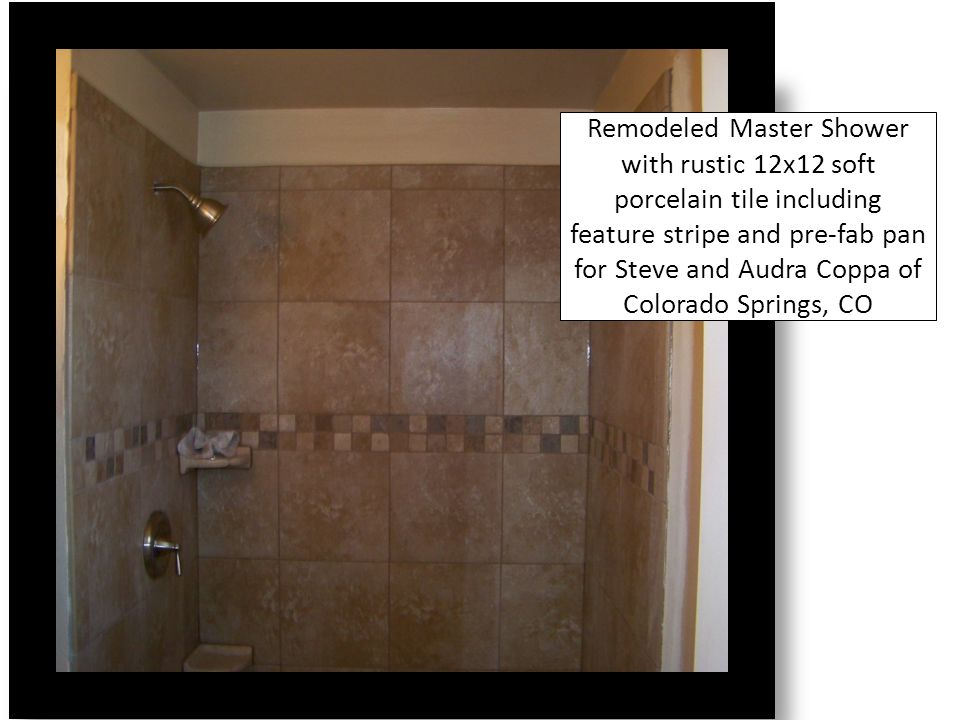Soft Porcelain 13x13 tiles with polyurethane grout in Downstairs Half Bathroom for Sam and Kelley Flaten of Colorado Springs, CO