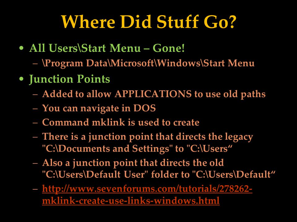 Where Did Stuff Go. All Users\Start Menu – Gone.