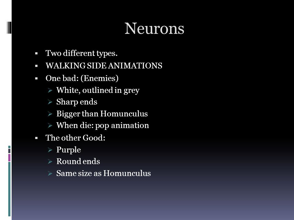 Neurons Two different types.