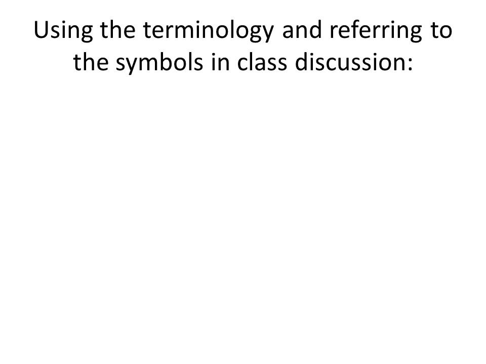 Using the terminology and referring to the symbols in class discussion: