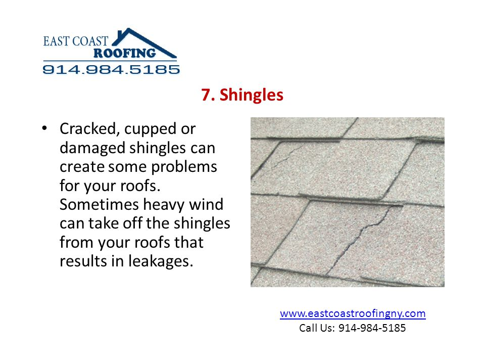 www.eastcoastroofingny.com Call Us: 914-984-5185 Cracked, cupped or damaged shingles can create some problems for your roofs.