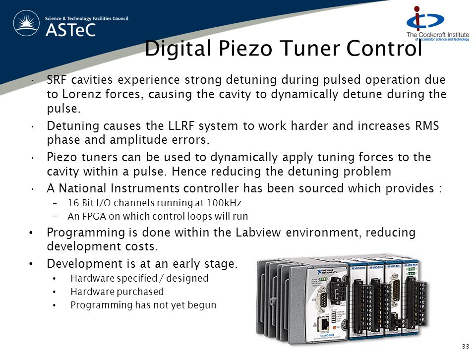 Digital Piezo Tuner Control SRF cavities experience strong detuning during pulsed operation due to Lorenz forces, causing the cavity to dynamically detune during the pulse.