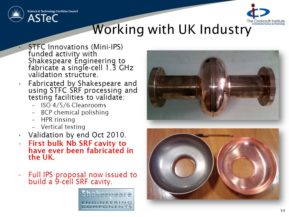 Working with UK Industry STFC Innovations (Mini-IPS) funded activity with Shakespeare Engineering to fabricate a single-cell 1.3 GHz validation structure.