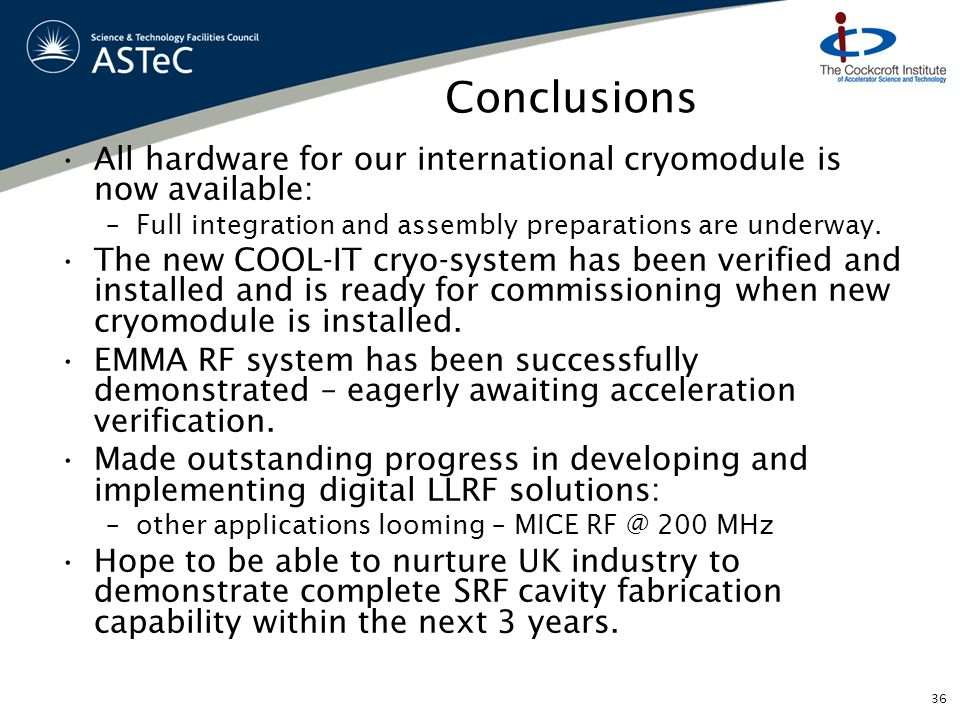Conclusions All hardware for our international cryomodule is now available: –Full integration and assembly preparations are underway. The new COOL-IT