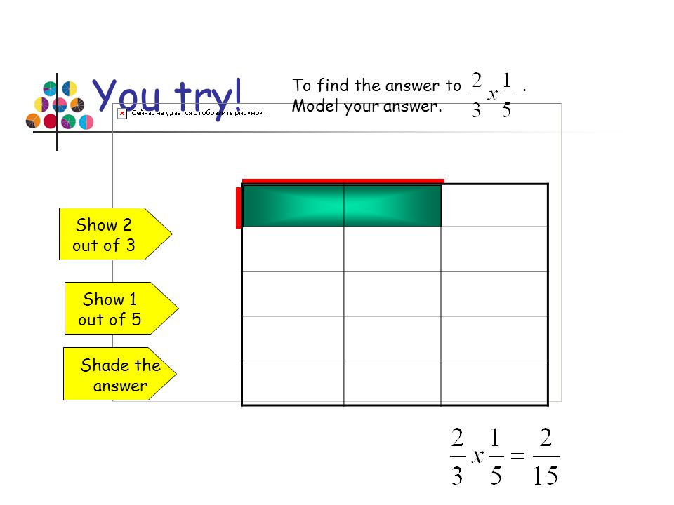 You try! To find the answer to. Model your answer. Show 2 out of 3 Show 1 out of 5 Shade the answer