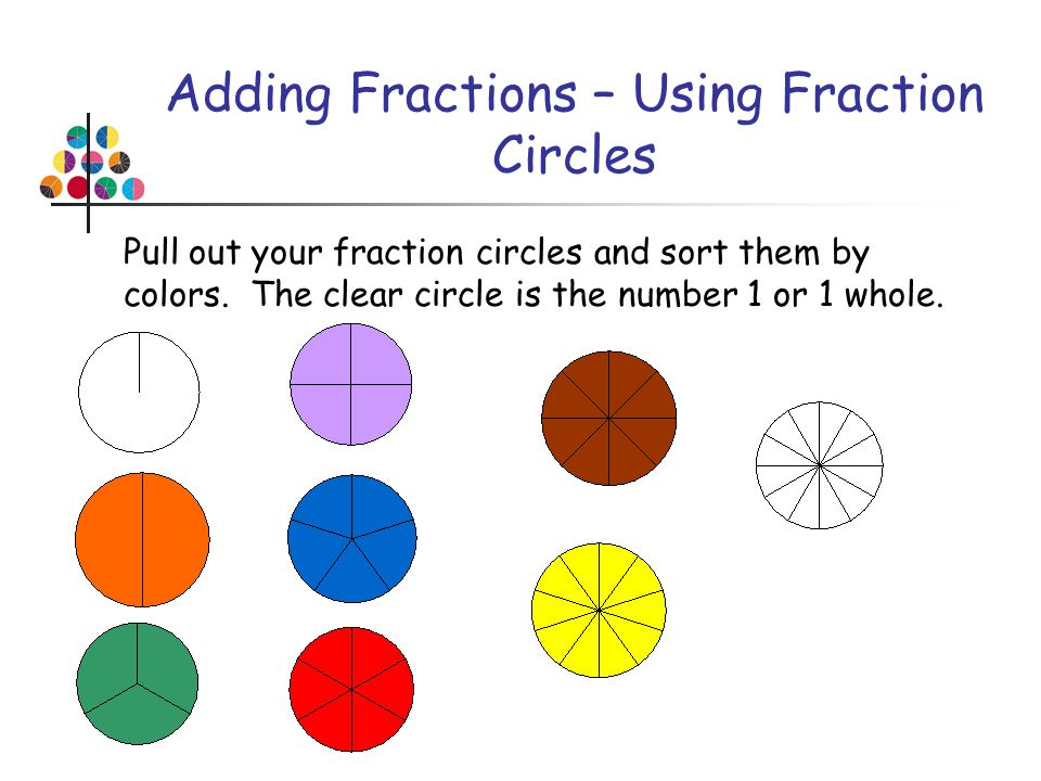 Adding Fractions – Using Fraction Circles Pull out your fraction circles and sort them by colors. The clear circle is the number 1 or 1 whole.