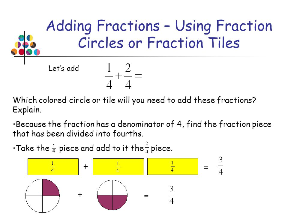 Adding Fractions – Using Fraction Circles or Fraction Tiles Lets add Which colored circle or tile will you need to add these fractions? Explain. Becau