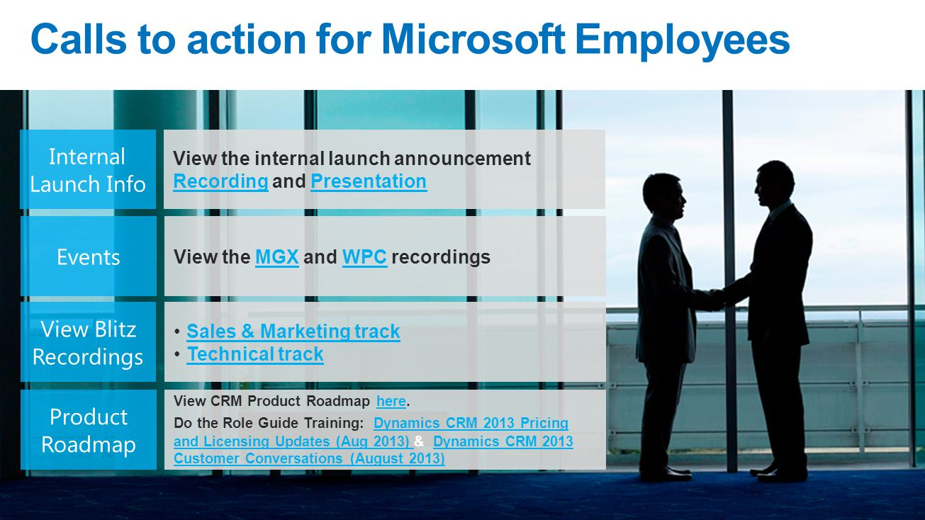 Calls to action for Microsoft Employees View CRM Product Roadmap here.here Do the Role Guide Training: Dynamics CRM 2013 Pricing and Licensing Updates (Aug 2013) & Dynamics CRM 2013 Customer Conversations (August 2013) Dynamics CRM 2013 Pricing and Licensing Updates (Aug 2013) Dynamics CRM 2013 Customer Conversations (August 2013) View the internal launch announcement Recording and Presentation RecordingPresentation View the MGX and WPC recordingsMGXWPC Sales & Marketing track Technical track