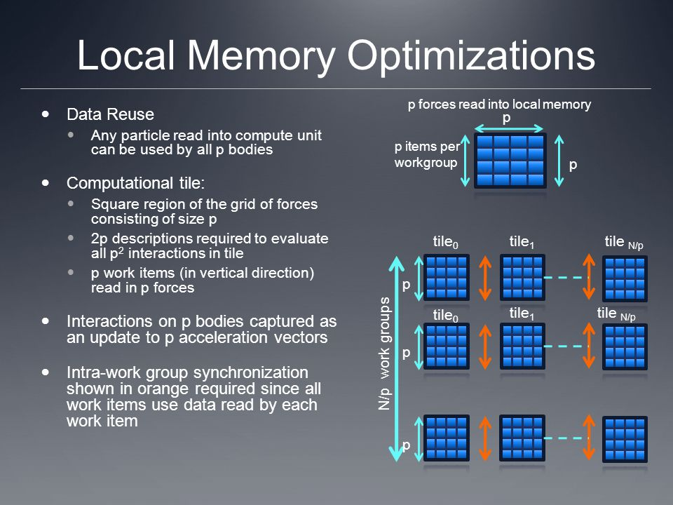 Local Memory Optimizations Data Reuse Any particle read into compute unit can be used by all p bodies Computational tile: Square region of the grid of