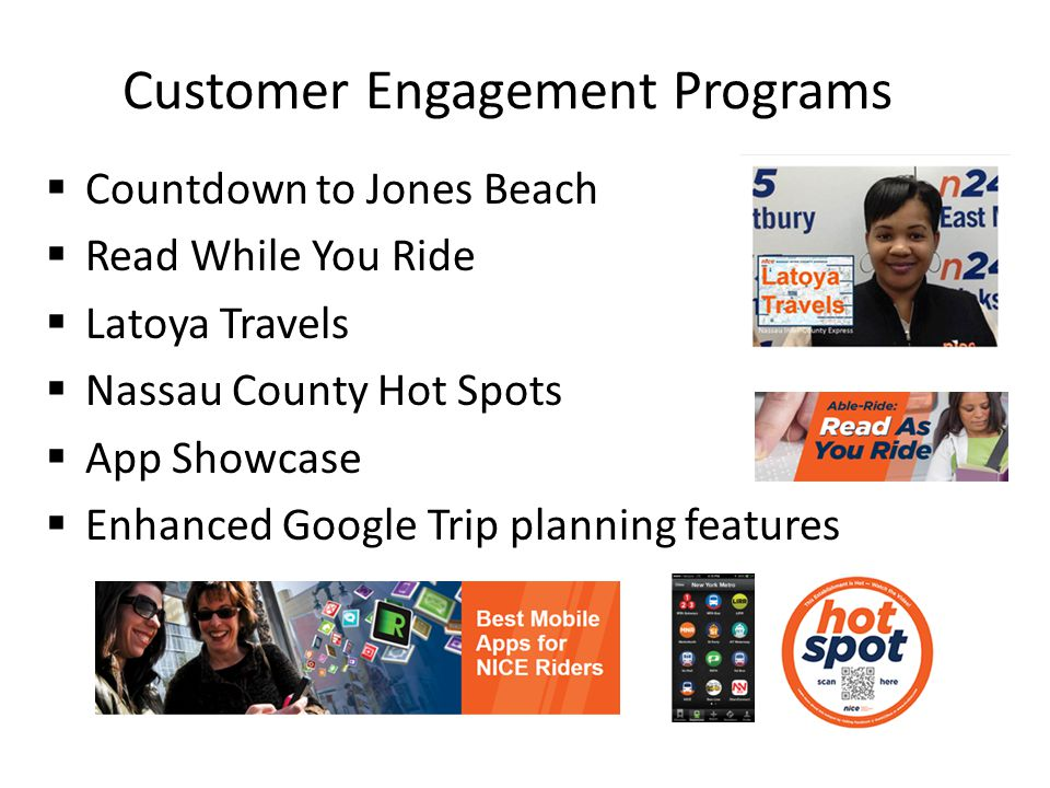 Customer Engagement Programs Countdown to Jones Beach Read While You Ride Latoya Travels Nassau County Hot Spots App Showcase Enhanced Google Trip planning features