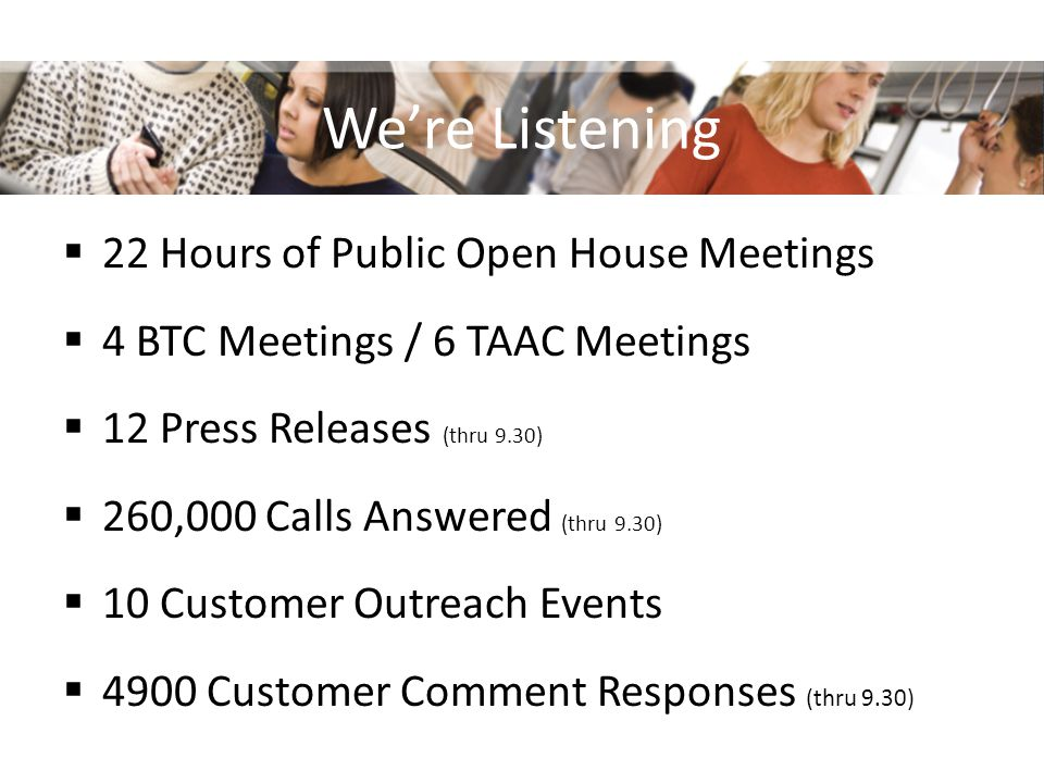 Were Listening 22 Hours of Public Open House Meetings 4 BTC Meetings / 6 TAAC Meetings 12 Press Releases (thru 9.30) 260,000 Calls Answered (thru 9.30) 10 Customer Outreach Events 4900 Customer Comment Responses (thru 9.30)