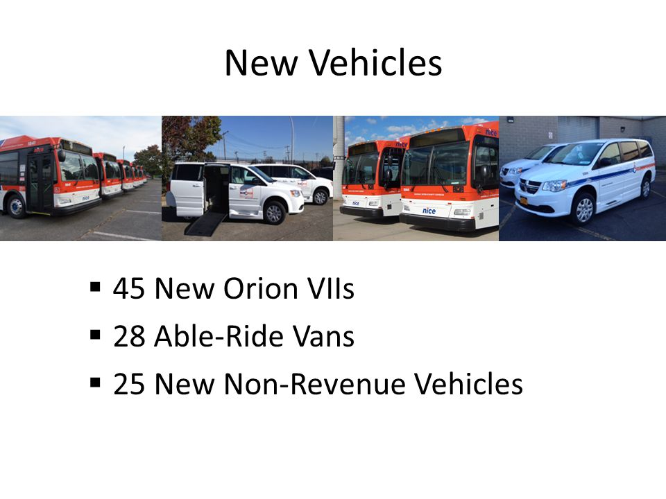 New Vehicles 45 New Orion VIIs 28 Able-Ride Vans 25 New Non-Revenue Vehicles