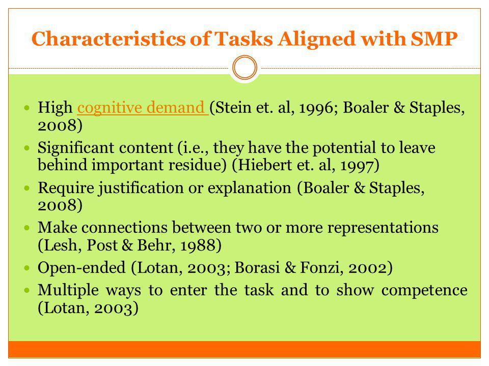 Characteristics of Tasks Aligned with SMP High cognitive demand (Stein et. al, 1996; Boaler & Staples, 2008)cognitive demand Significant content (i.e.