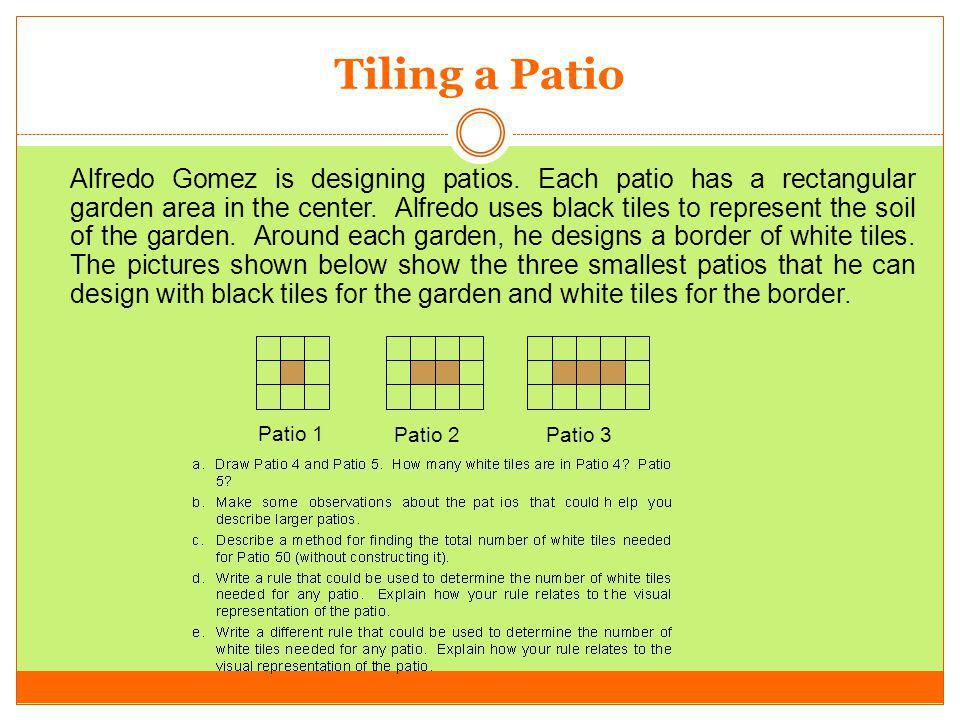 Tiling a Patio Alfredo Gomez is designing patios. Each patio has a rectangular garden area in the center. Alfredo uses black tiles to represent the so