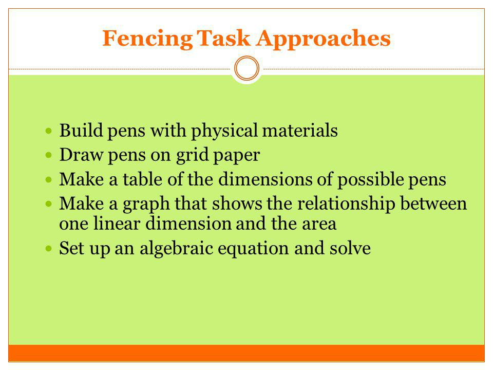 Fencing Task Approaches Build pens with physical materials Draw pens on grid paper Make a table of the dimensions of possible pens Make a graph that s