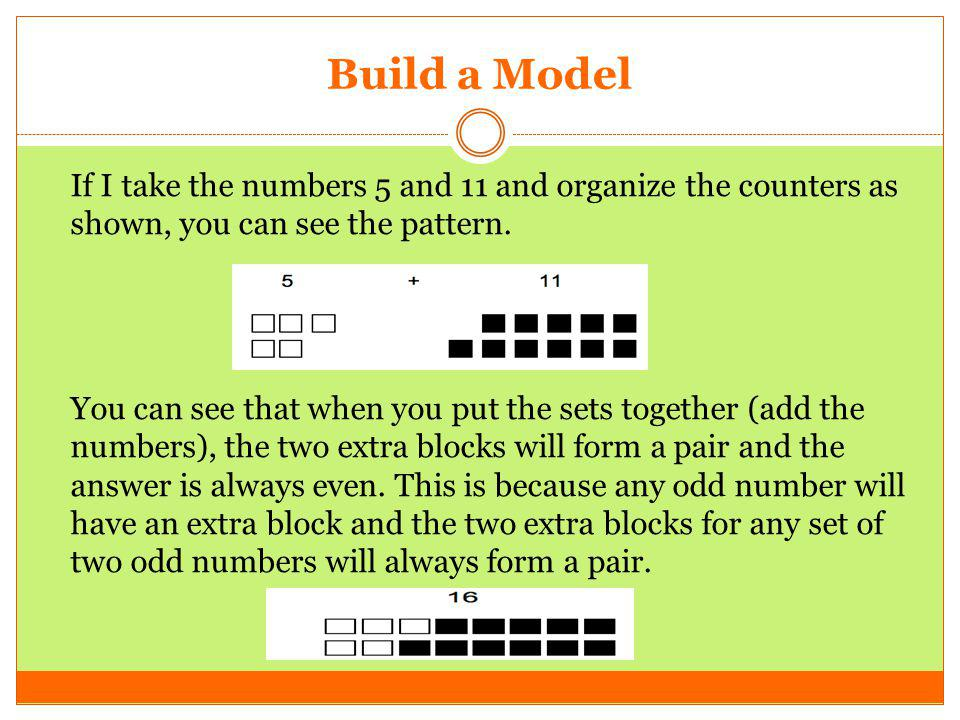 Build a Model If I take the numbers 5 and 11 and organize the counters as shown, you can see the pattern. You can see that when you put the sets toget