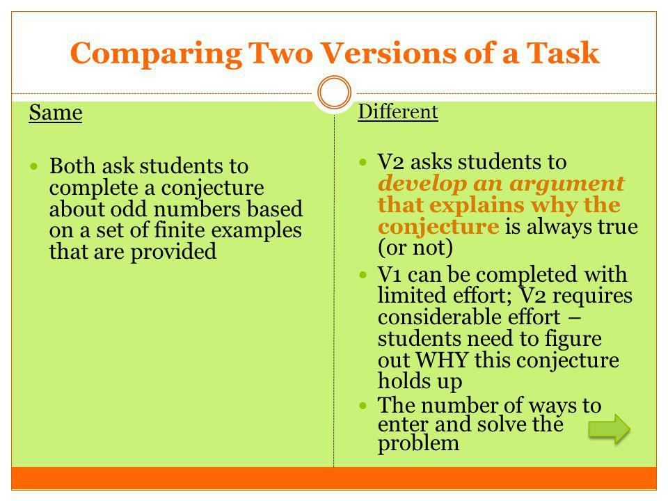 Comparing Two Versions of a Task Same Both ask students to complete a conjecture about odd numbers based on a set of finite examples that are provided