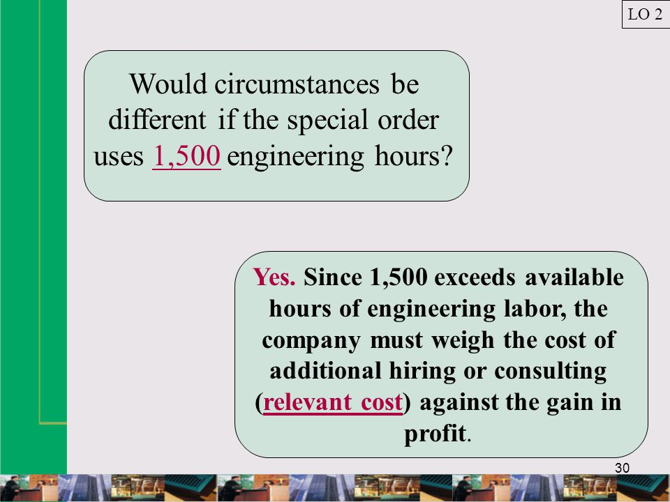 30 Would circumstances be different if the special order uses 1,500 engineering hours.