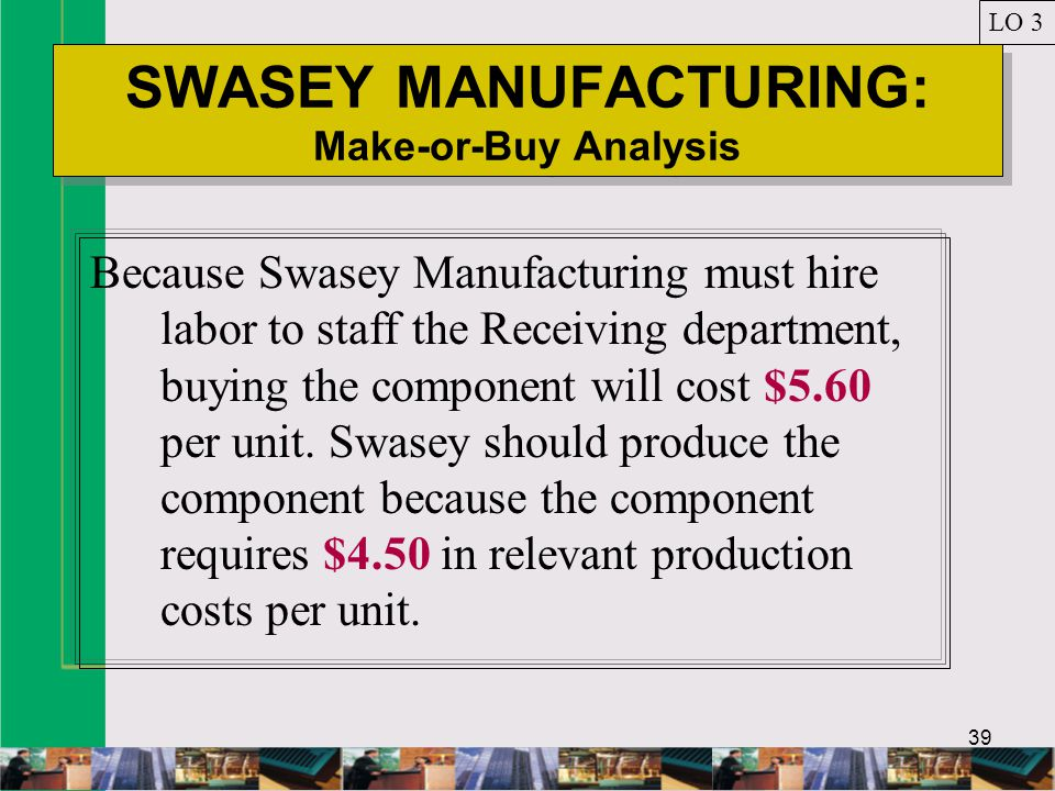 39 SWASEY MANUFACTURING: Make-or-Buy Analysis LO 3 Because Swasey Manufacturing must hire labor to staff the Receiving department, buying the component will cost $5.60 per unit.
