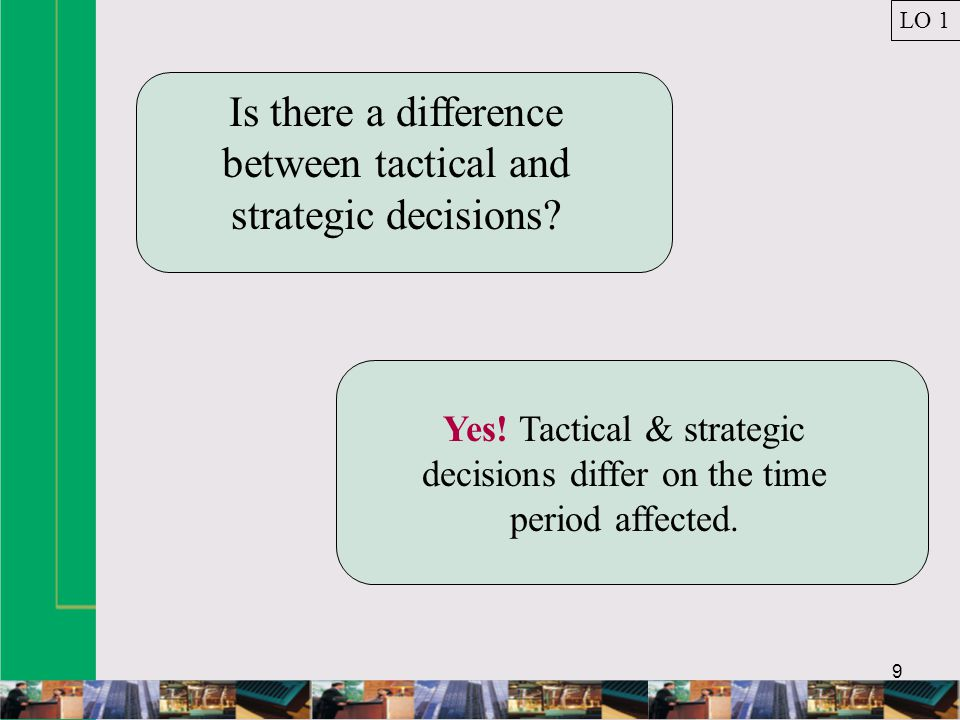 10 TACTICAL DECISION MAKING: Definition Consists of choosing among alternatives with an immediate or limited end in view.