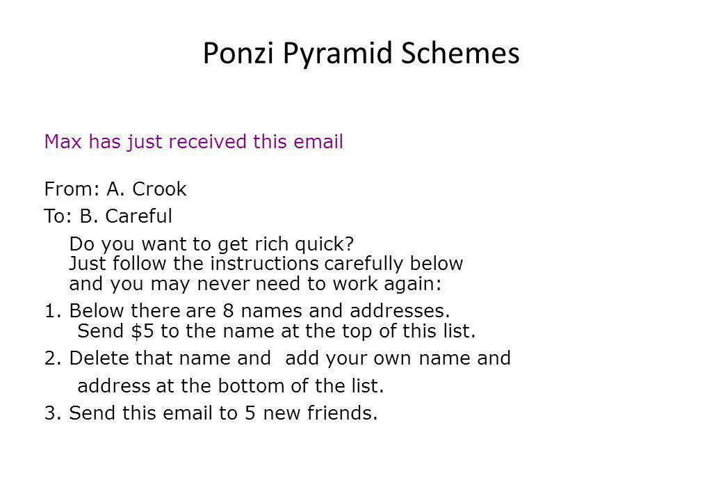 Ponzi Pyramid Schemes Max has just received this email From: A.