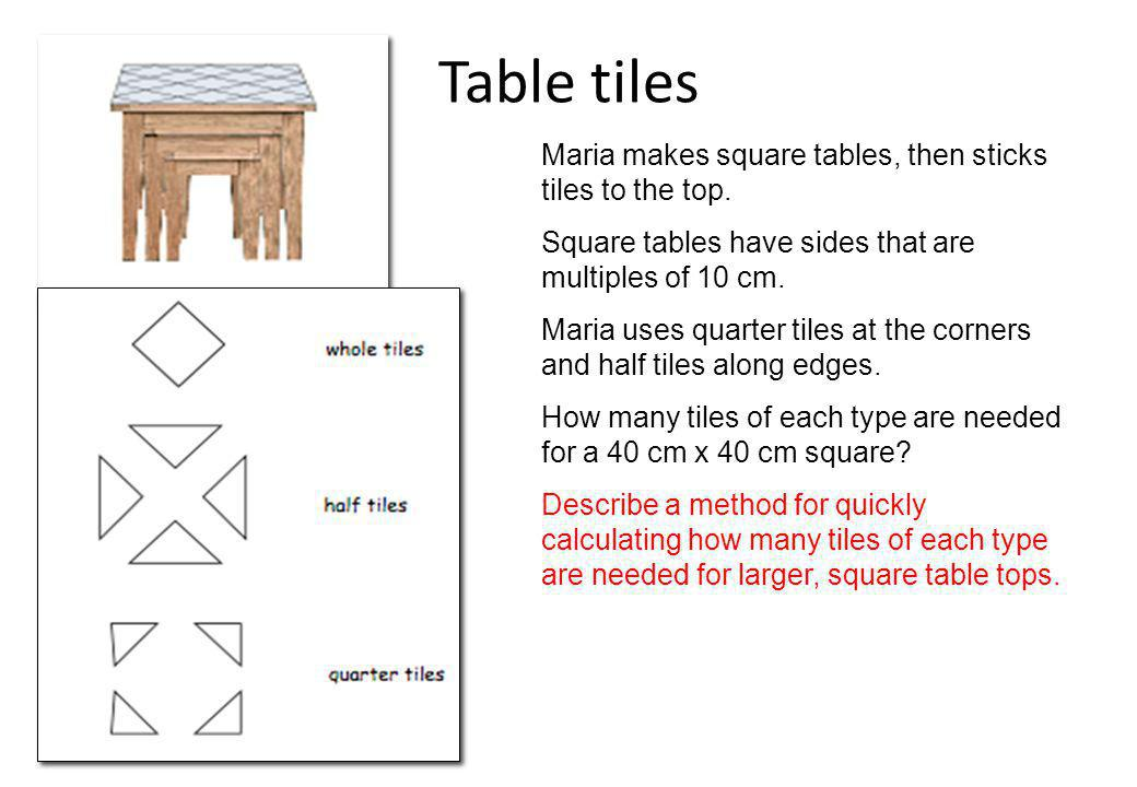 Table tiles Maria makes square tables, then sticks tiles to the top.