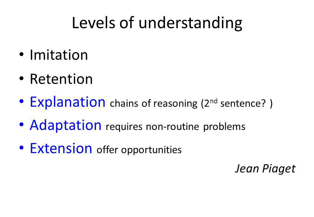 Levels of understanding Imitation Retention Explanation chains of reasoning (2 nd sentence.