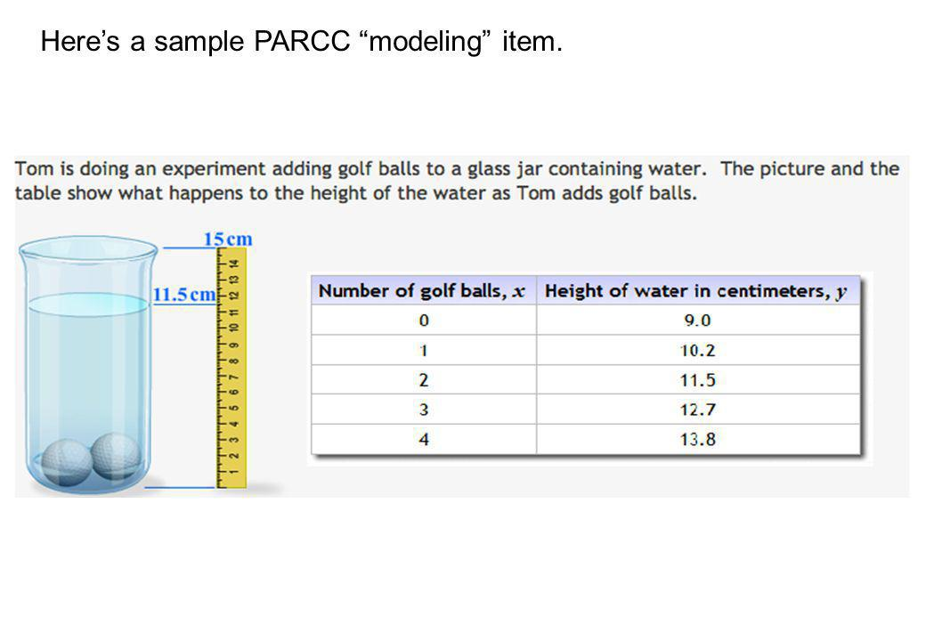 Heres a sample PARCC modeling item.