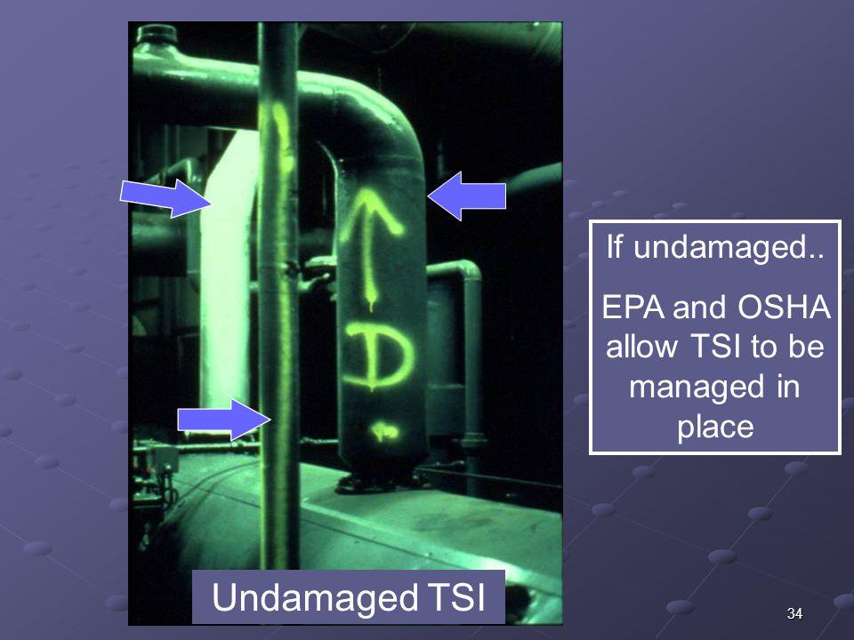 34 Undamaged TSI If undamaged.. EPA and OSHA allow TSI to be managed in place