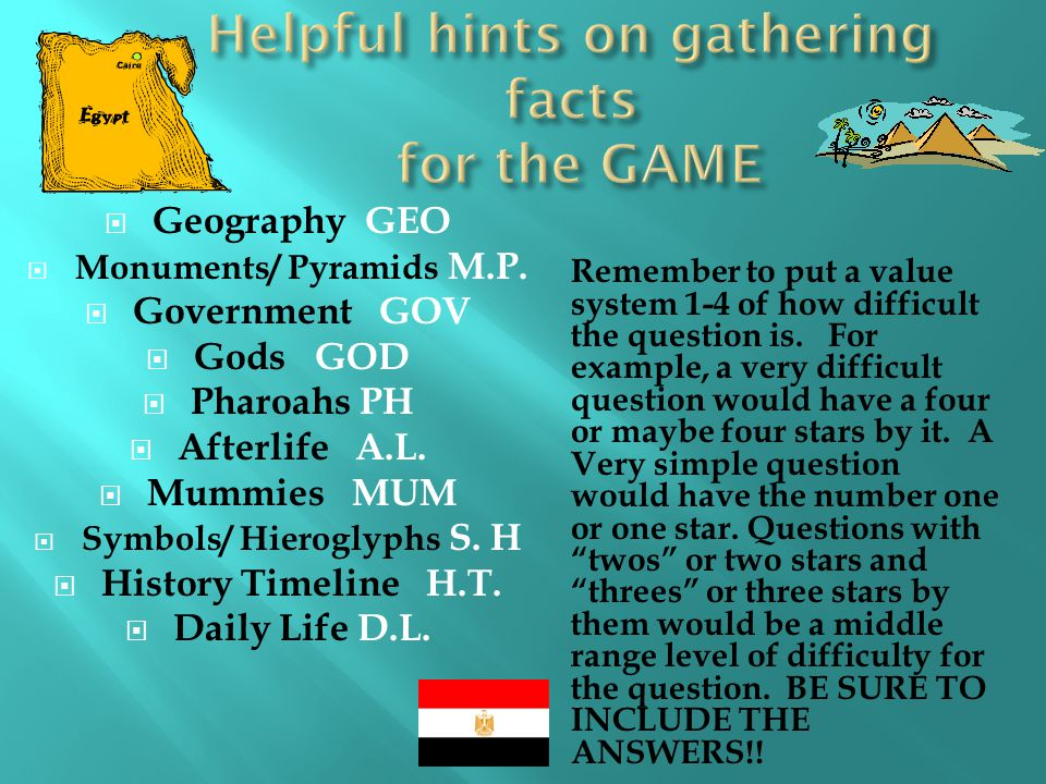 Geography GEO Monuments/ Pyramids M.P. Government GOV Gods GOD Pharoahs PH Afterlife A.L.