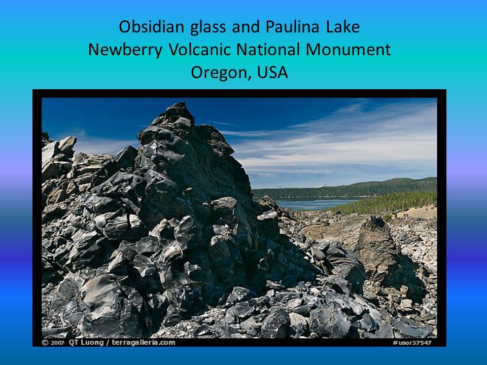 Obsidian glass and Paulina Lake Newberry Volcanic National Monument Oregon, USA