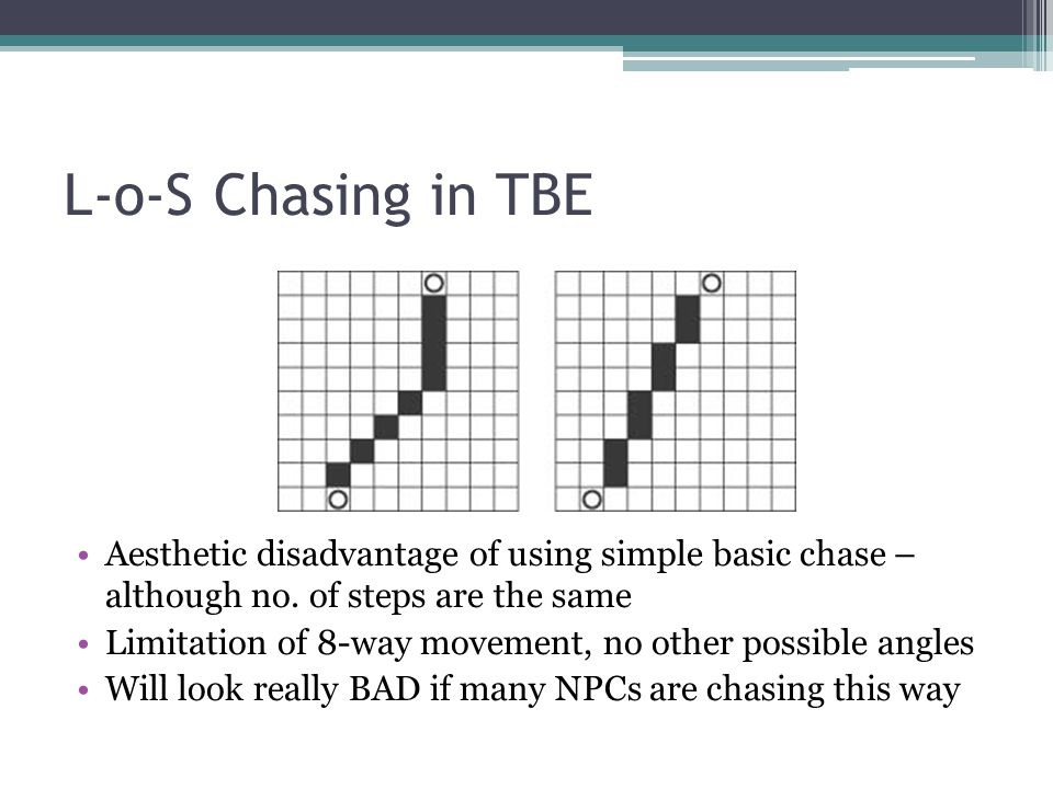 L-o-S Chasing in TBE Aesthetic disadvantage of using simple basic chase – although no.