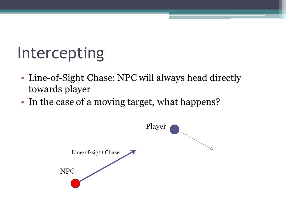 Intercepting Line-of-Sight Chase: NPC will always head directly towards player In the case of a moving target, what happens? NPC Player Line-of-sight