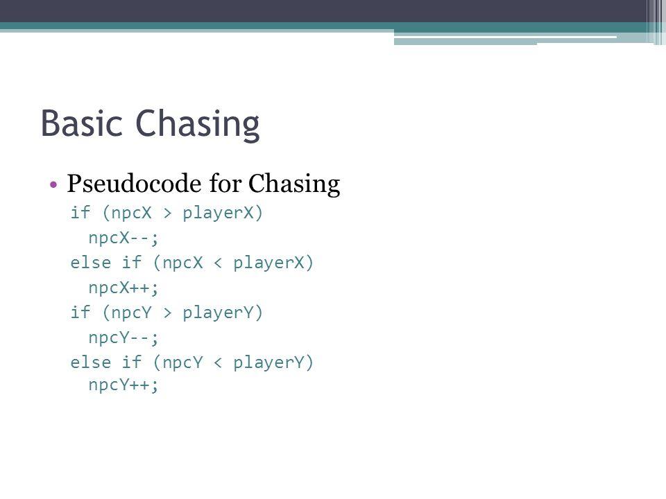 Basic Chasing Pseudocode for Chasing if (npcX > playerX) npcX--; else if (npcX < playerX) npcX++; if (npcY > playerY) npcY--; else if (npcY < playerY) npcY++;