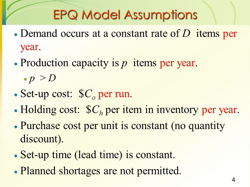 5 EPQ Model Formulae Optimal production lot-size (formula 11-16 of book) Run time: Q */p Time between set-ups (cycle time): Q */D years Total cost (formula 11.15 of book)