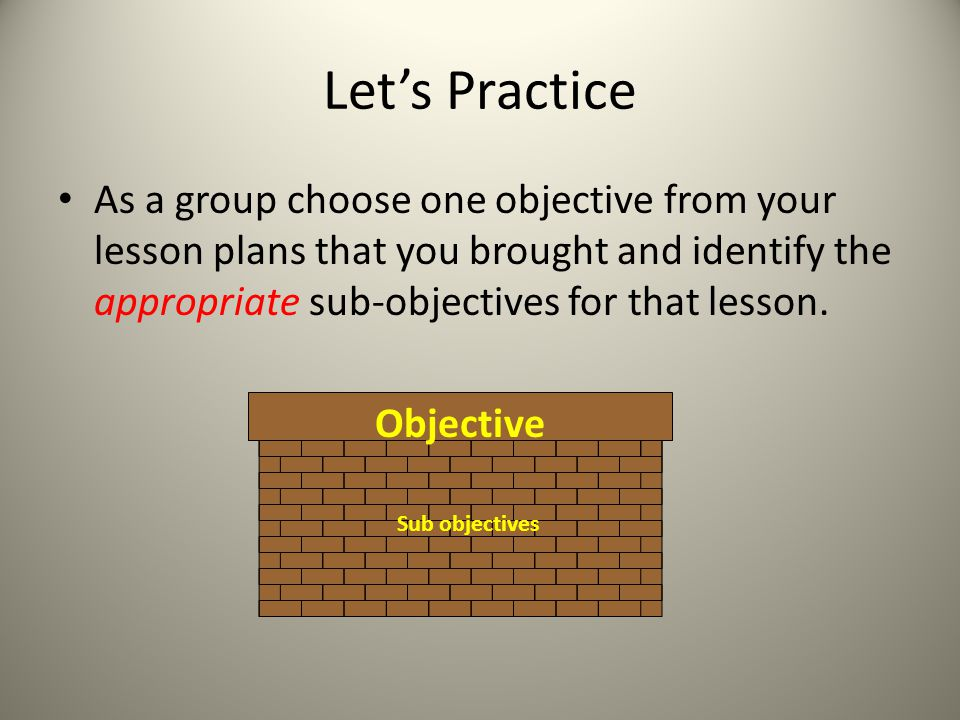 Lets Practice As a group choose one objective from your lesson plans that you brought and identify the appropriate sub-objectives for that lesson. Obj