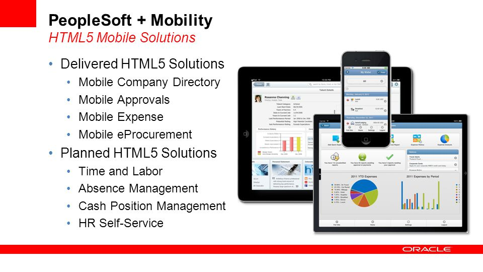 Delivered HTML5 Solutions Mobile Company Directory Mobile Approvals Mobile Expense Mobile eProcurement Planned HTML5 Solutions Time and Labor Absence