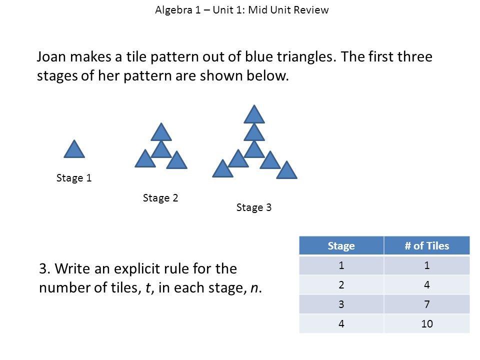 Algebra 1 – Unit 1: Mid Unit Review Joan makes a tile pattern out of blue triangles.