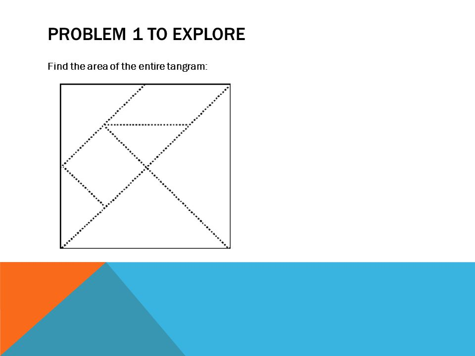 PROBLEM 1 TO EXPLORE Find the area of the entire tangram: