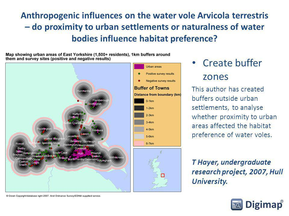 Anthropogenic influences on the water vole Arvicola terrestris – do proximity to urban settlements or naturalness of water bodies influence habitat preference.