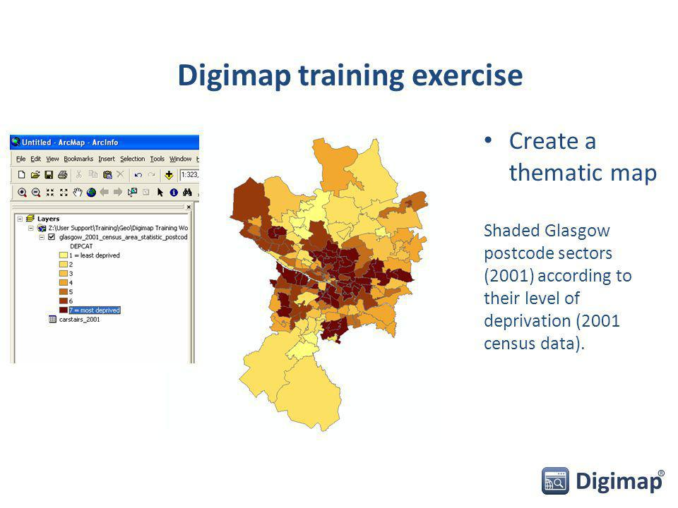Create a thematic map Shaded Glasgow postcode sectors (2001) according to their level of deprivation (2001 census data). Digimap training exercise