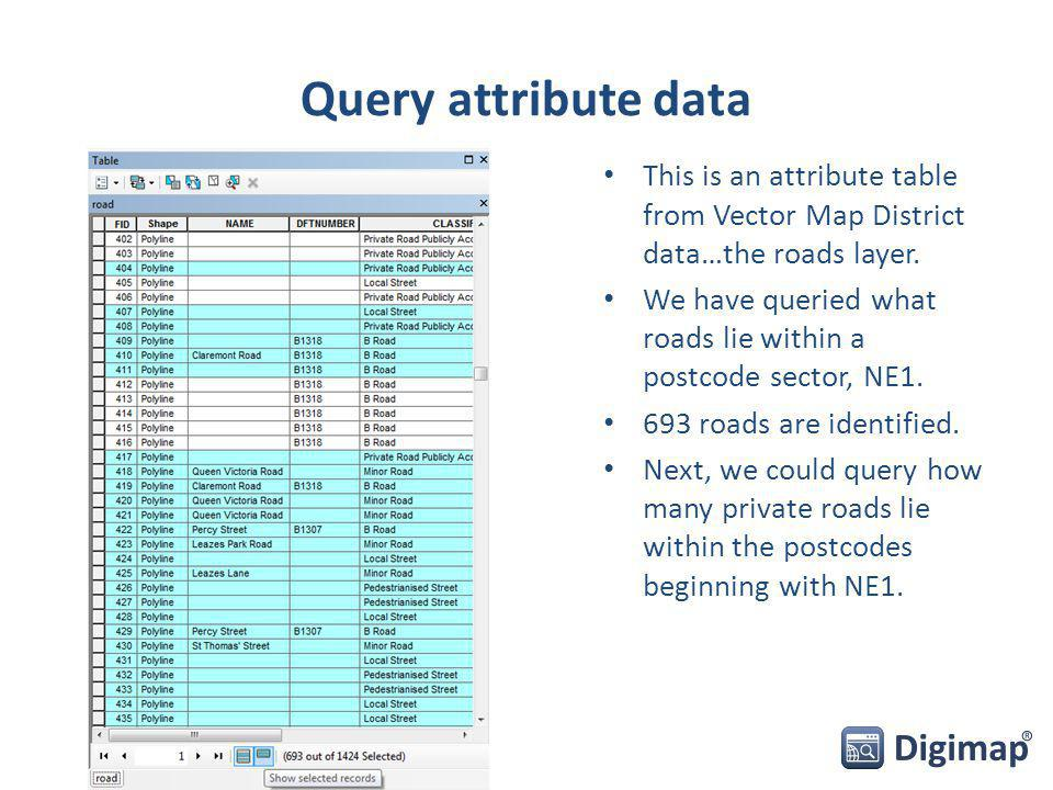 Query attribute data This is an attribute table from Vector Map District data…the roads layer.