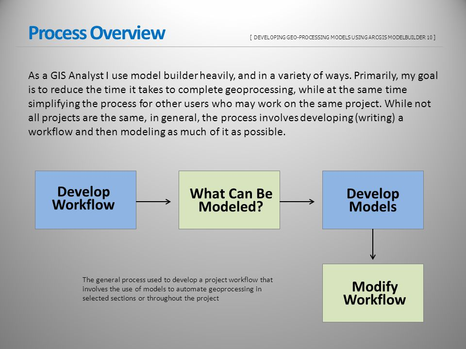 Process Overview [ DEVELOPING GEO-PROCESSING MODELS USING ARCGIS MODELBUILDER 10 ] As a GIS Analyst I use model builder heavily, and in a variety of ways.