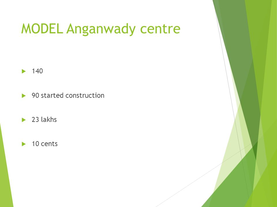 MODEL Anganwady centre 140 90 started construction 23 lakhs 10 cents