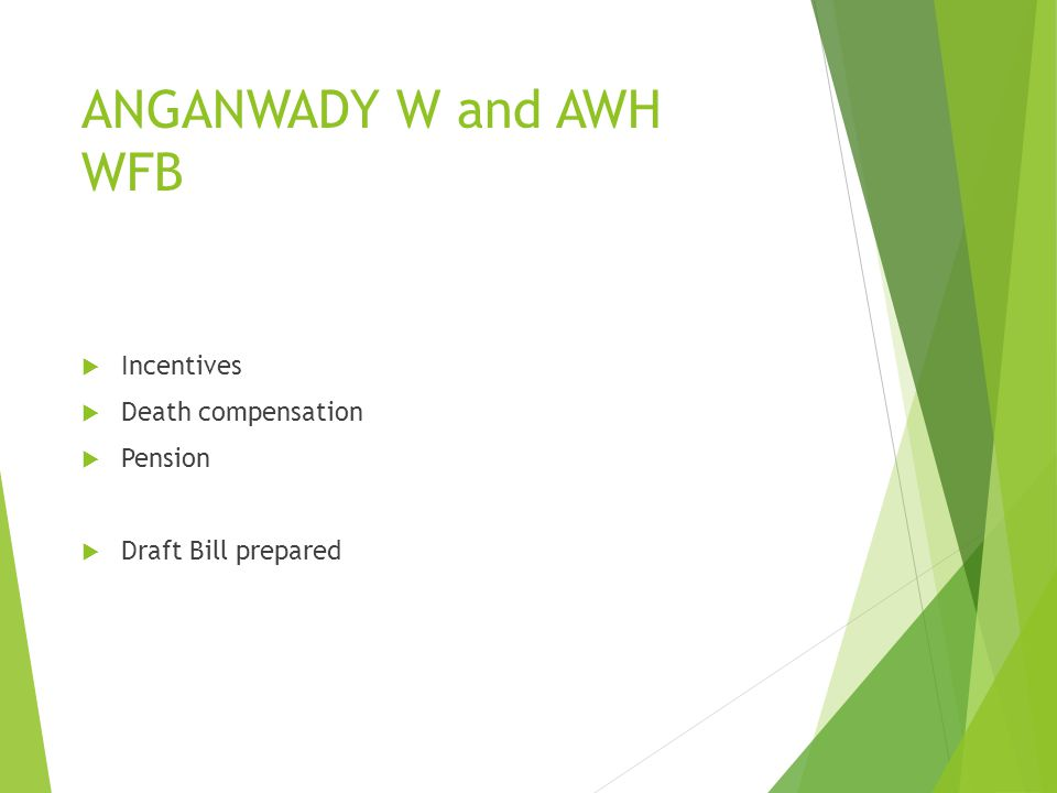 ANGANWADY W and AWH WFB Incentives Death compensation Pension Draft Bill prepared